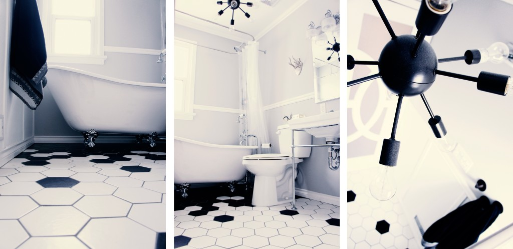 Hexagon tile bathroom design