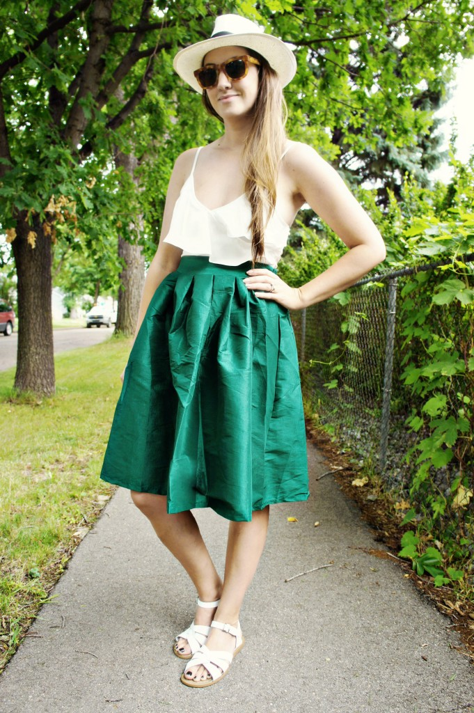 Full taffeta skirt circle party skirt