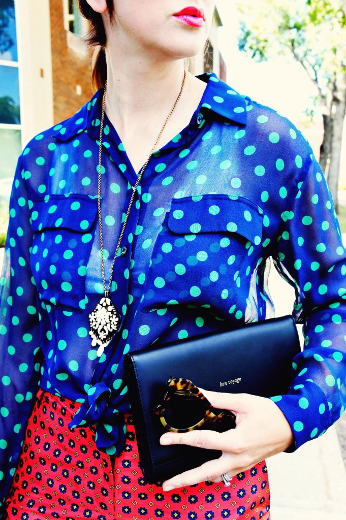 equipment polka dot navy green blouse sale