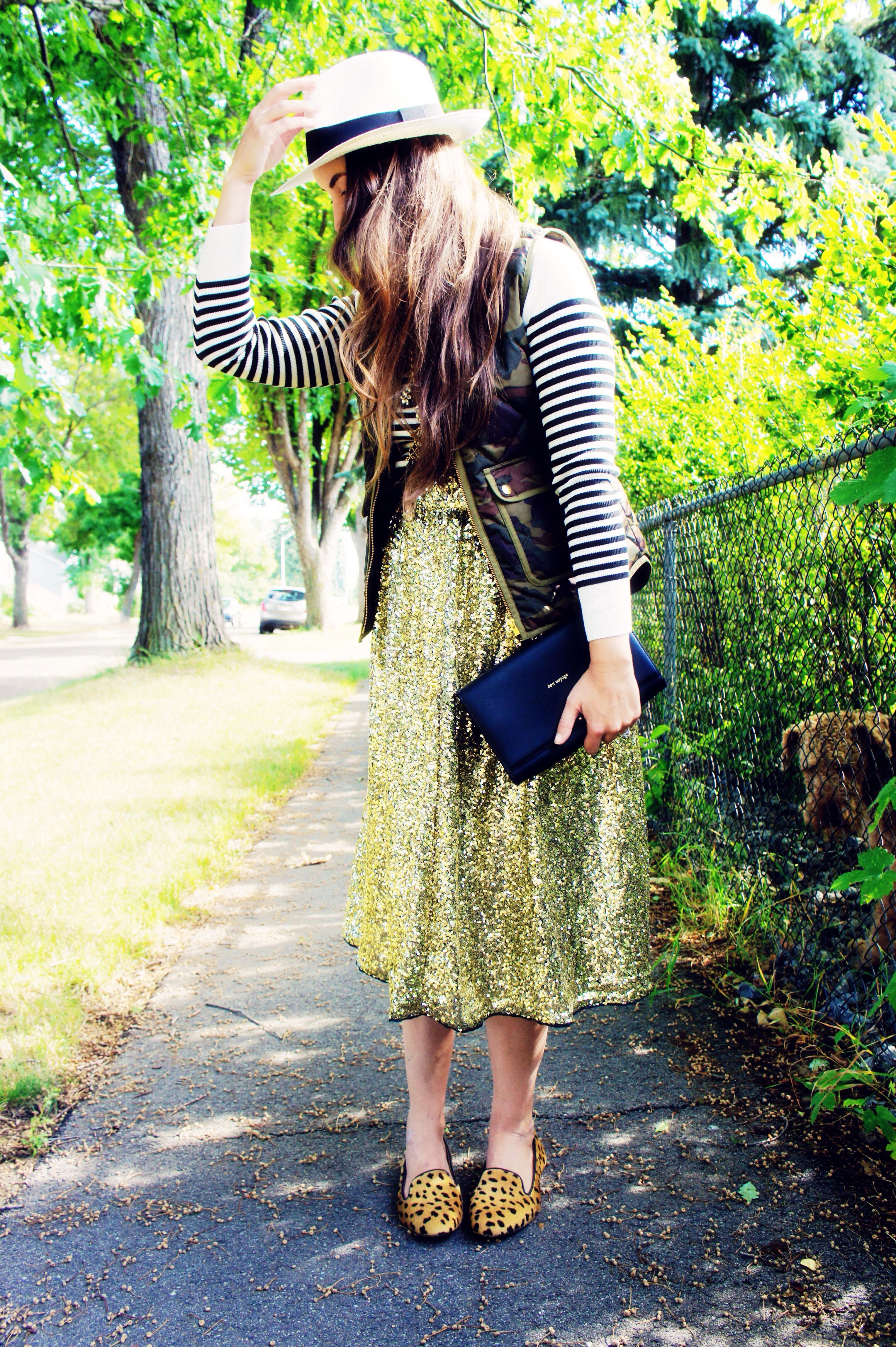 midi sequin gold skirt | Northern Style Exposure