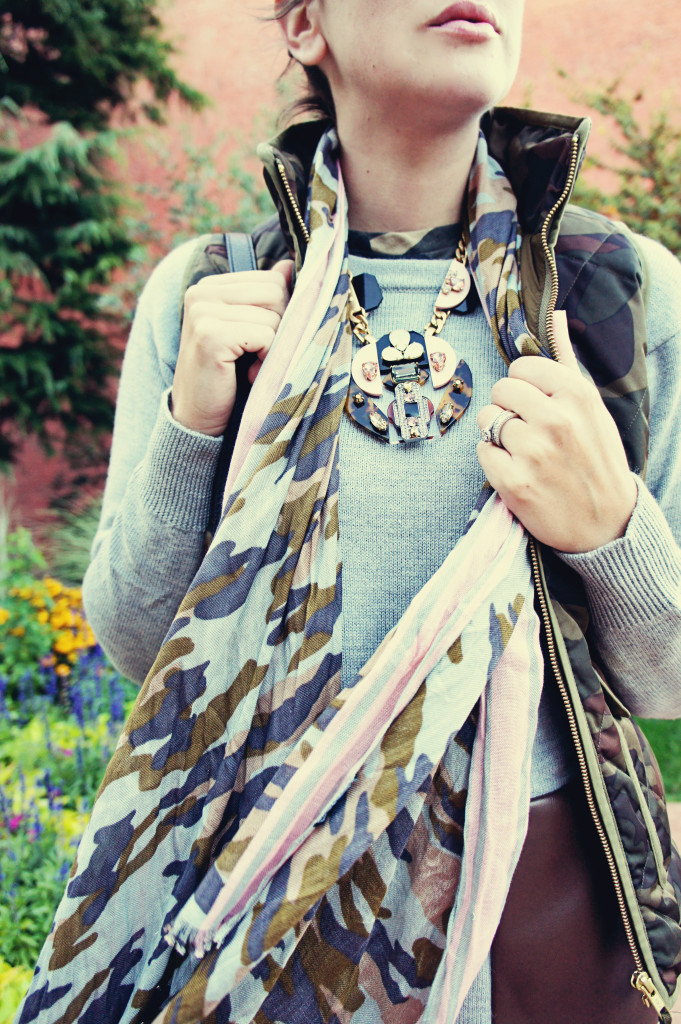 Camo camouflage scarf pink fall style