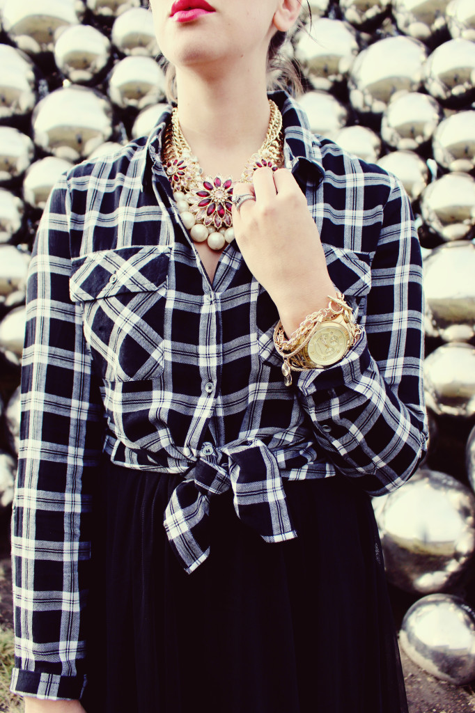 Dressed up plaid flannel holiday look