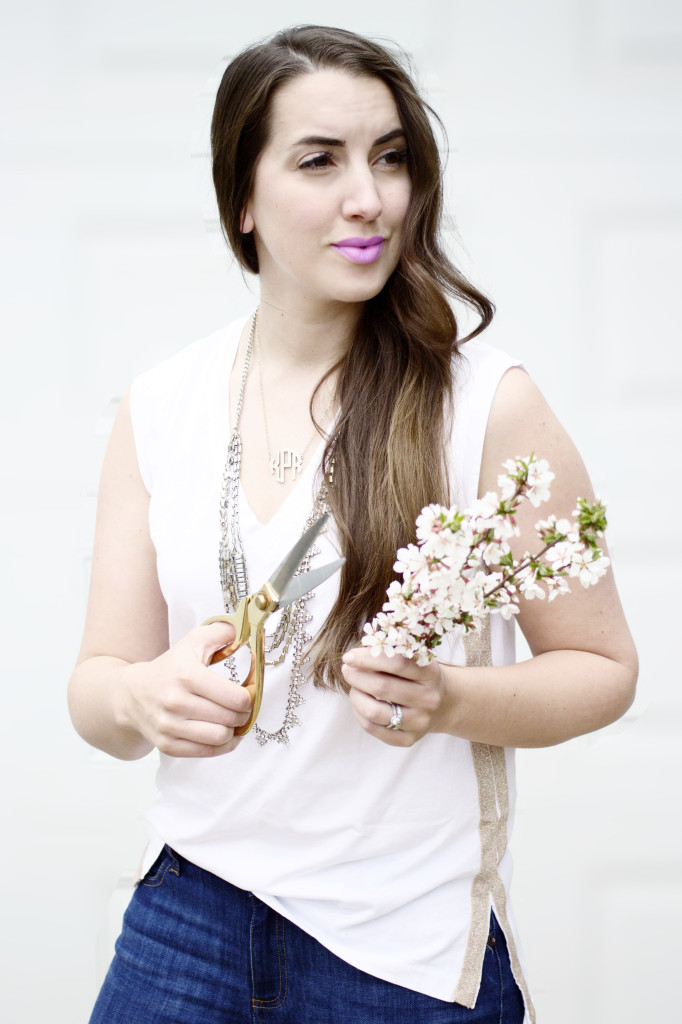 spring flowers cherry blossoms style blogger J.Crew White tee