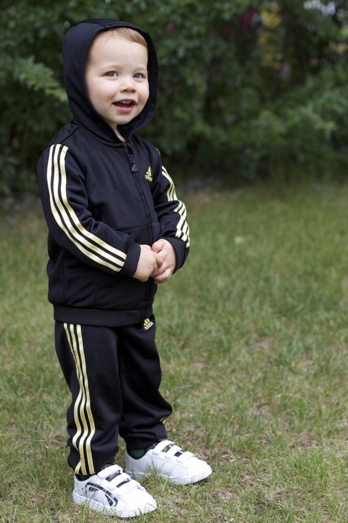 adidas children's black gold track suit