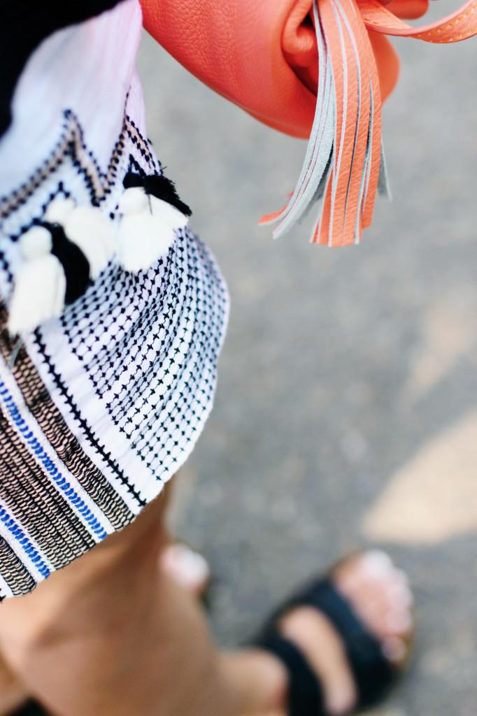 tassel pom pom shorts j.Crew black Birkenstocks peplum top