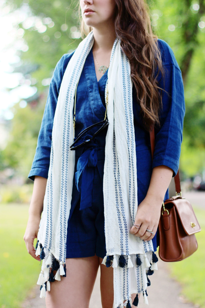 fringe tassel pom pom scarf navy blue kimono romper