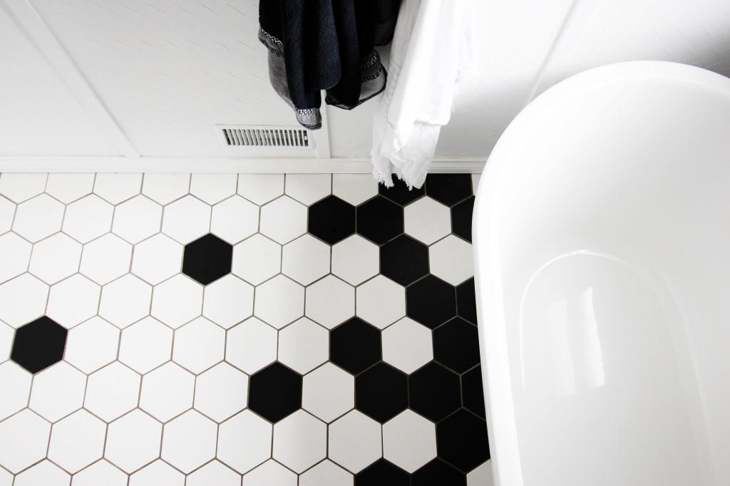 bathroom hexagon tile floor geometric lavatory sink