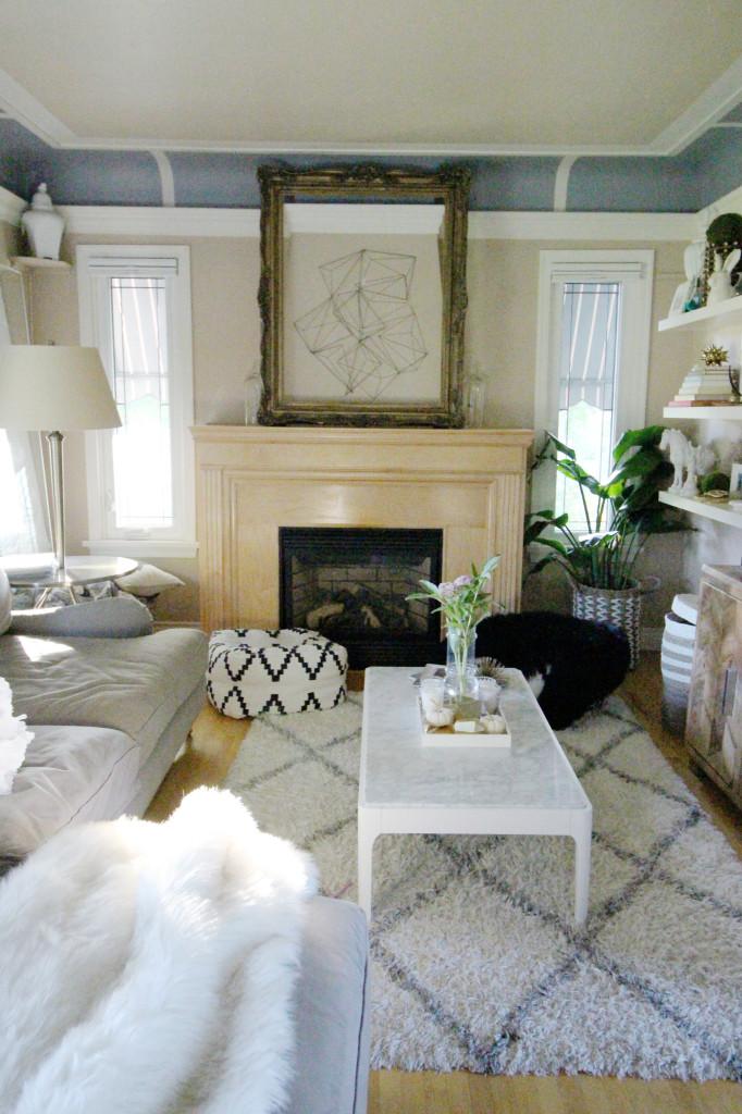 diamond white shag Moroccan rug marble coffee table geometric wall decor living air plants