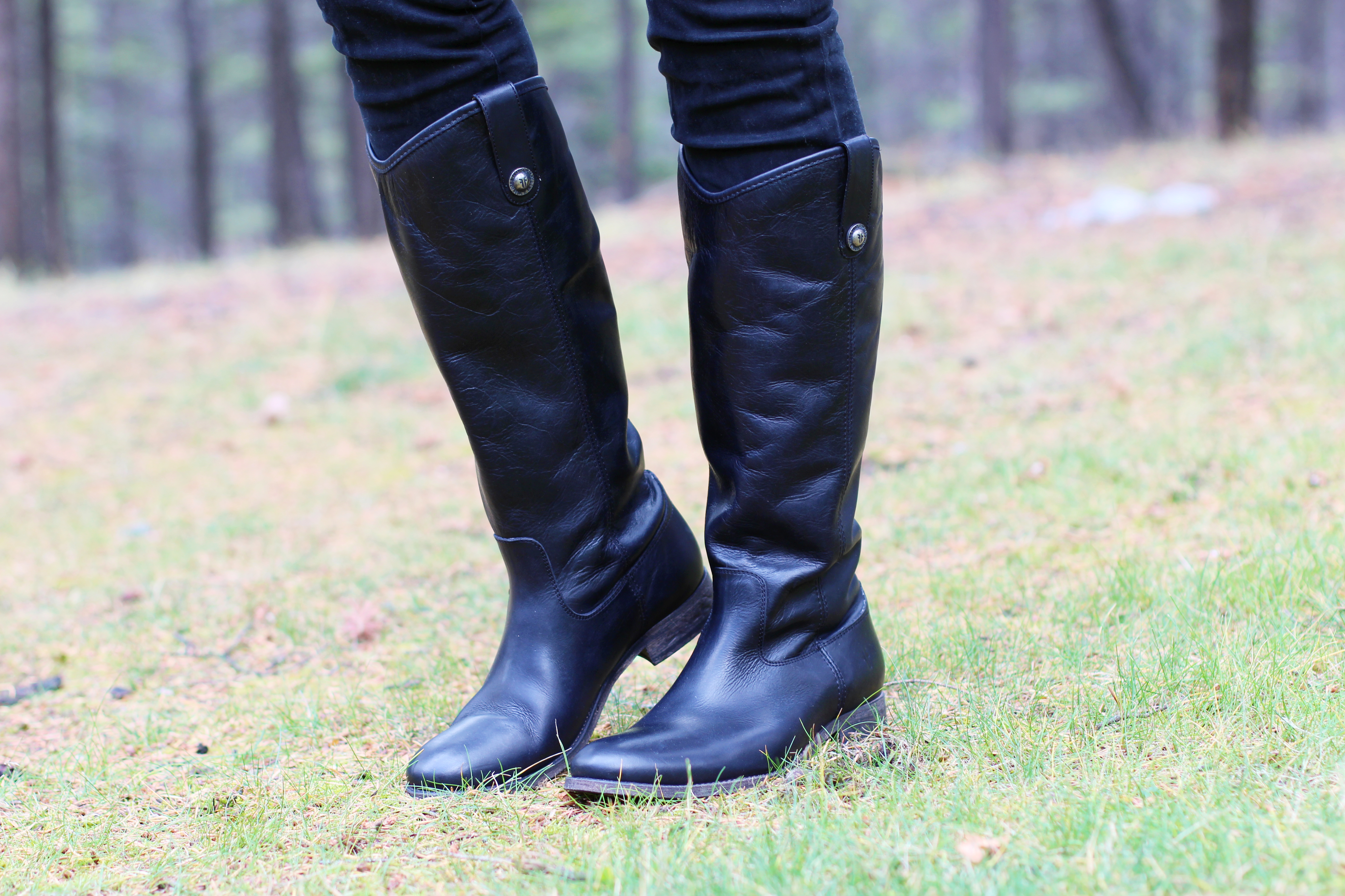 frye riding boots melissa in black