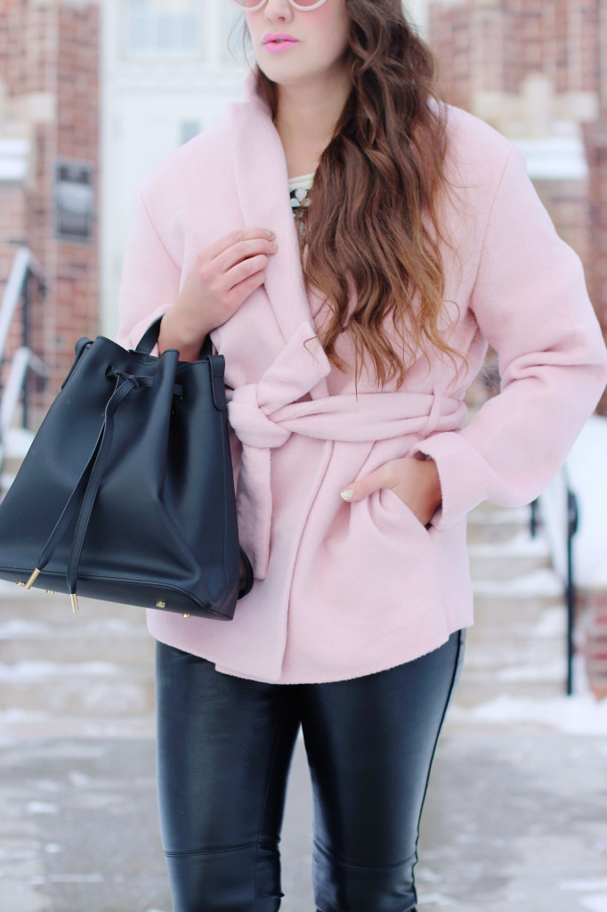 Carven wrap pink coat jacket Gap Coat pb0110 bag Canadian blogger winter look with Northern Style Exposure