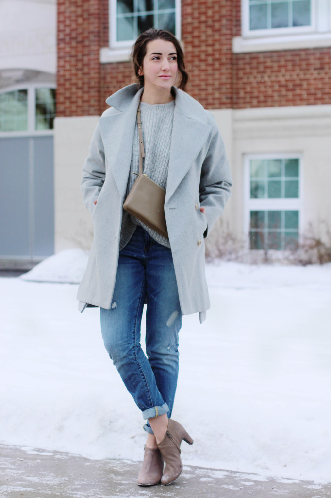 Celine trio cross body bag purse designer taupe Milton j.crew coat boyfriend jean j.crew ankle bootie canadian style blogger northern style exposure winter look