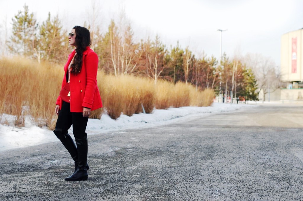 j.crew red jacket coat gold button chloe drew bag Kira Paran Canadian style lifestyle blogger