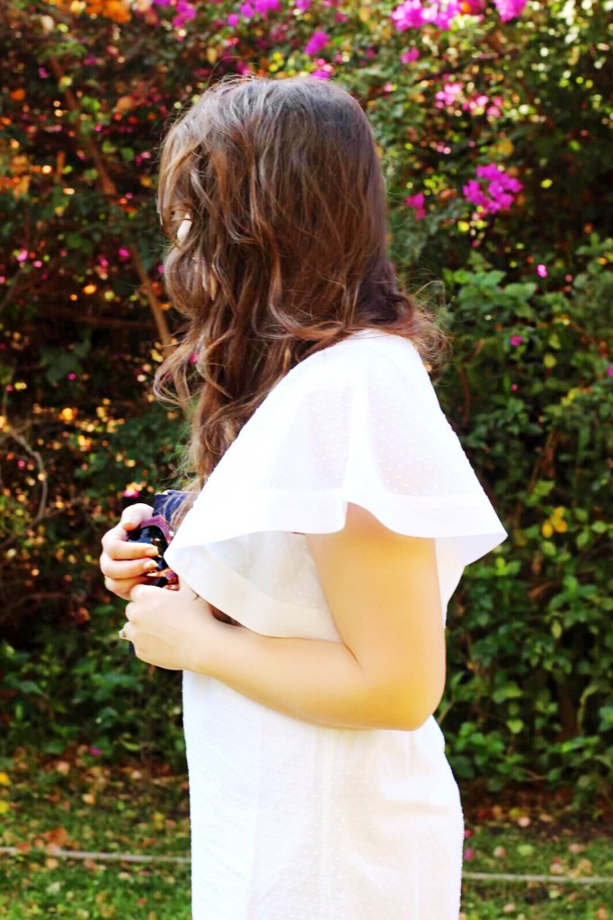 eyelet ruffle white dress j.crew style 2016 spring blogger kate spade moon star clutch