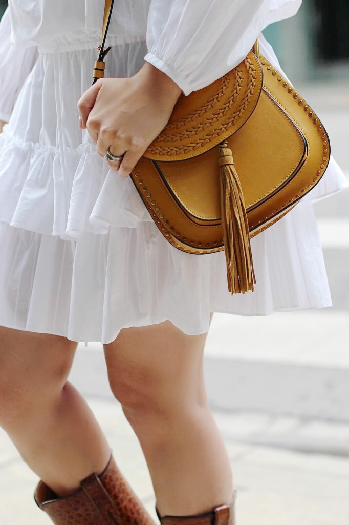 hloe cross body bag yellow holt renfrew elizabeth james dress white ruffles style blogger canadian Kira Paran