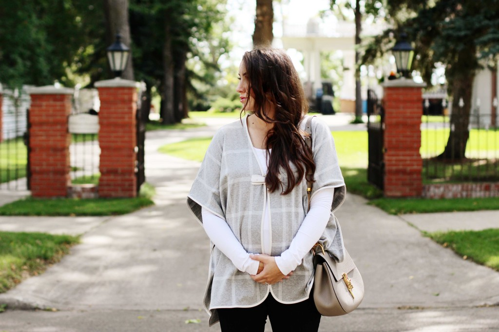 Chloe drew begin grey mushroom plaid windowpane maternity poncho cape RIPE pregnancy style street fashion ECCO snake boot canadian blogger kira paran northern style exposure