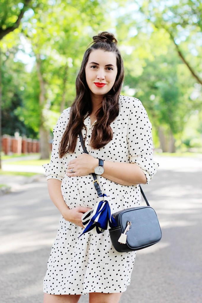 Maternity style fashion blogger Look Pregnancy 26 weeks style the bump Canadian blogger Kira paran Aquazurra flats j.crew cross body bag polka dot dress smash box long wear lipstick