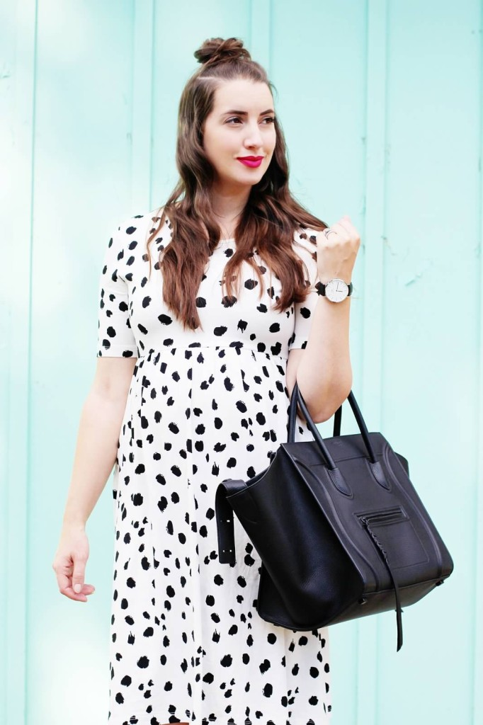 dalmatian polka dot maternity dress asos loves Canadian blogger pregnancy style Kira Paran celine phantom street style aquazurra flats silver white