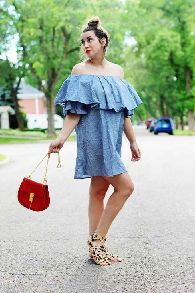 Maternity fashion style pregnancy look style blogger canadian street Kira Paran Edmonton ruffle off shoulder dress re chloe drew bag