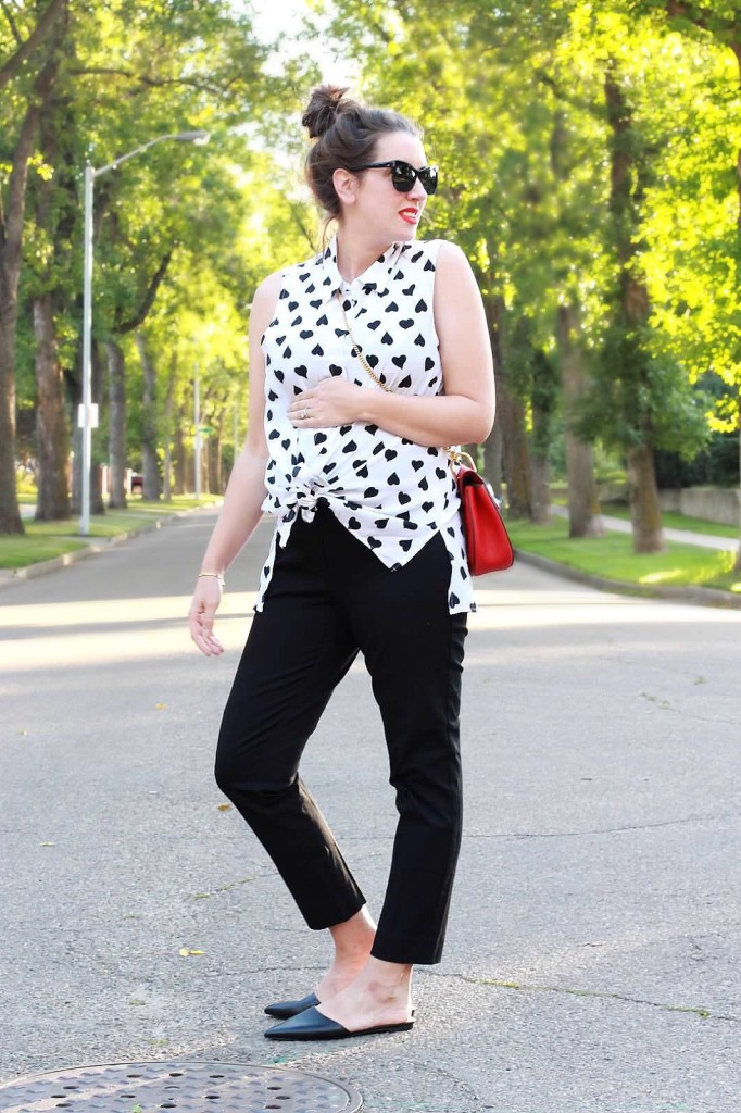 maternity style blogger look designer equipment blouse heart red chloe drew bag pointed mule flats j.crew