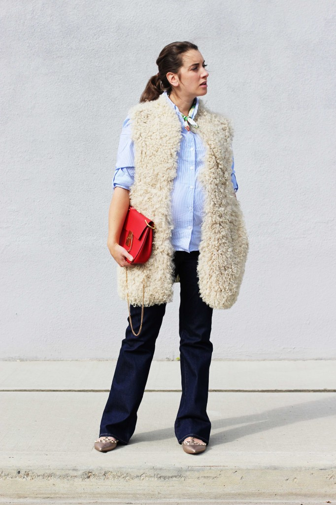 shearling vest fur red chloe drew maternity style