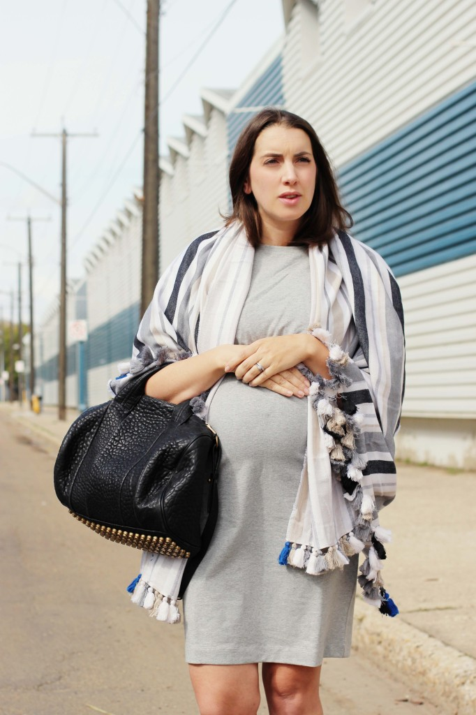 Boob maternity nursing clothing pregnancy style blogger maternity look Kira paran canadian alexander wang black rocco bag kit ace pom pom scarf screw pointed mule flats