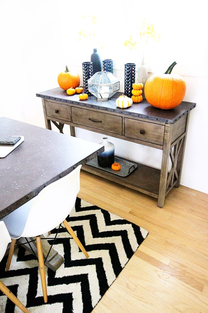 fall home decor ideas modern teal glass vase branches pumpkins  gold white kitchen faucet blanco sink marble backsplash