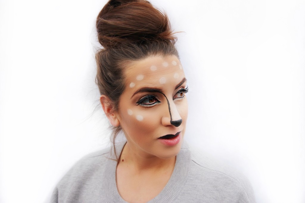 deer animal easy DIY tutorial makeup Maybelline easy drugstore halloween ideas sephora snapchat filter Fawn