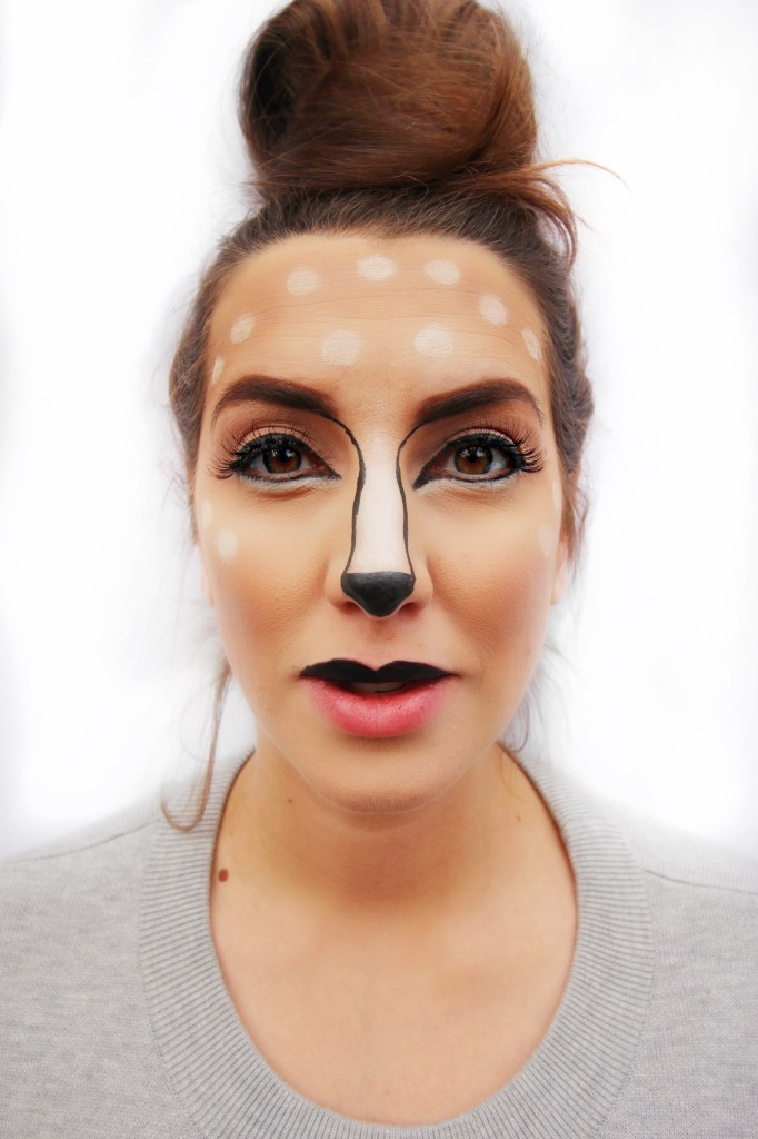 deer animal easy DIY tutorial makeup Maybelline easy drugstore halloween ideas sephora snapchat filter Fawn eye liner