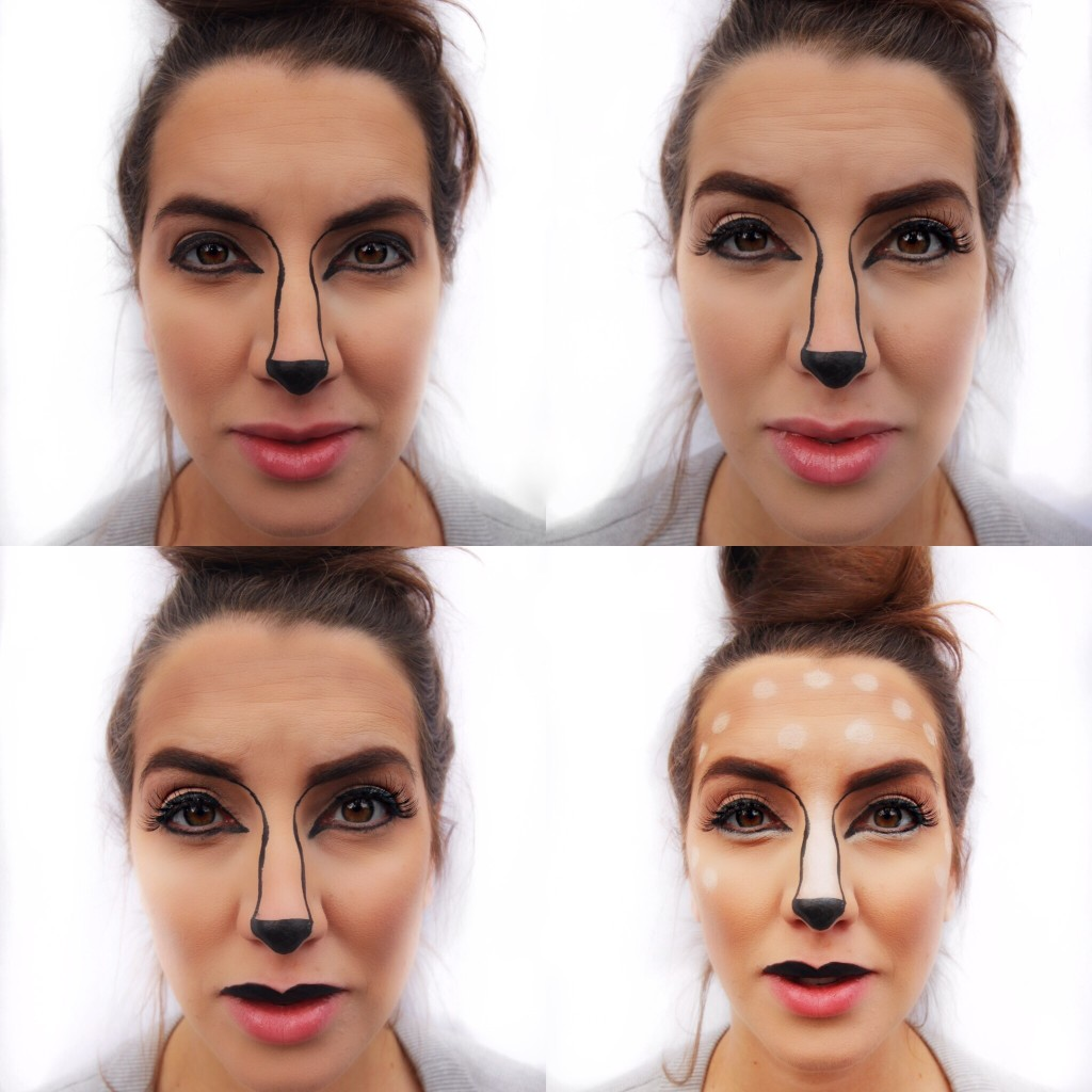 deer animal easy DIY tutorial makeup Maybelline easy drugstore halloween ideas sephora snapchat filter Fawn step by step pinterest