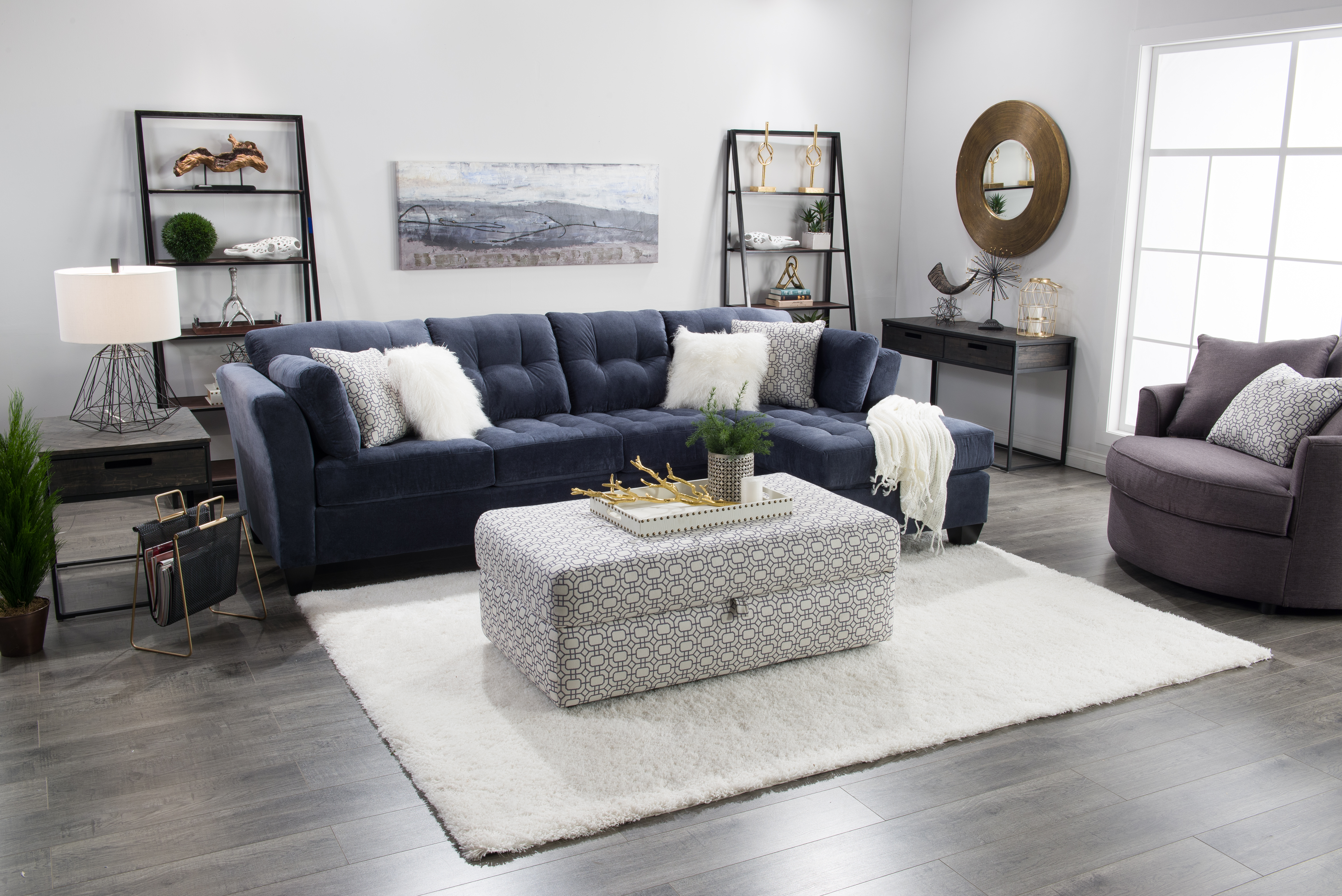 D2b Blogger Shoot Kira Room Living Blue Sofa Modern Feminine