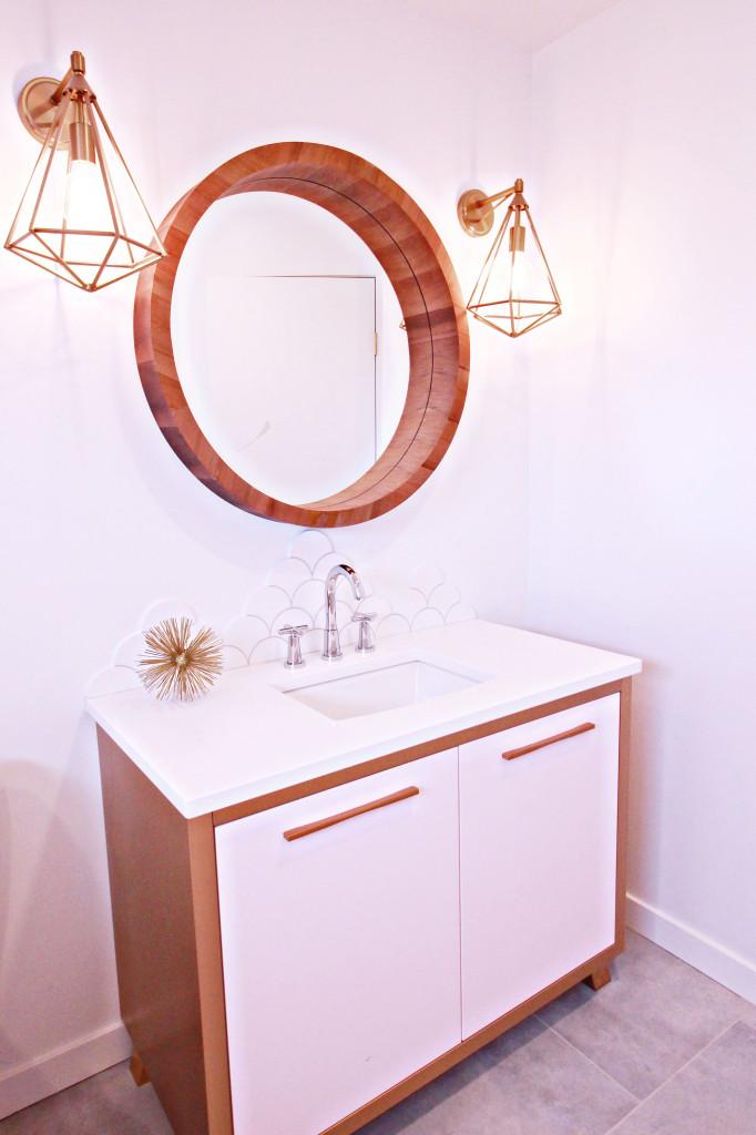 bathroom gold geometric light sconce fixture round mirror