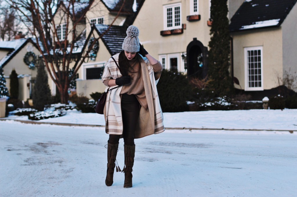 gap punch wrap Cuyana bag oversized giant pom pom hat bring boots joyfolie tassel to the knee Kira Paran Northern Style leather highwaisted legging brown camel raging raisin dark lipstick maybelline