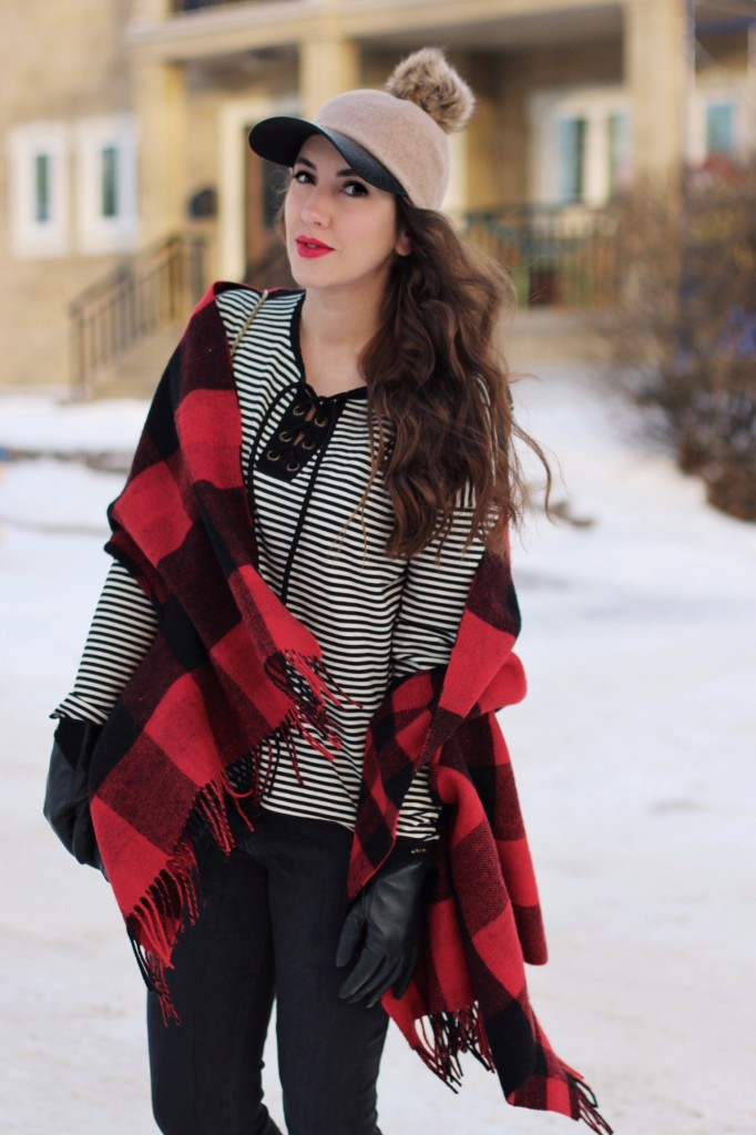buffalo plaid wrap poncho cape made well NSF top lace up style blogger kira paran northern style exposure chloe elise bag