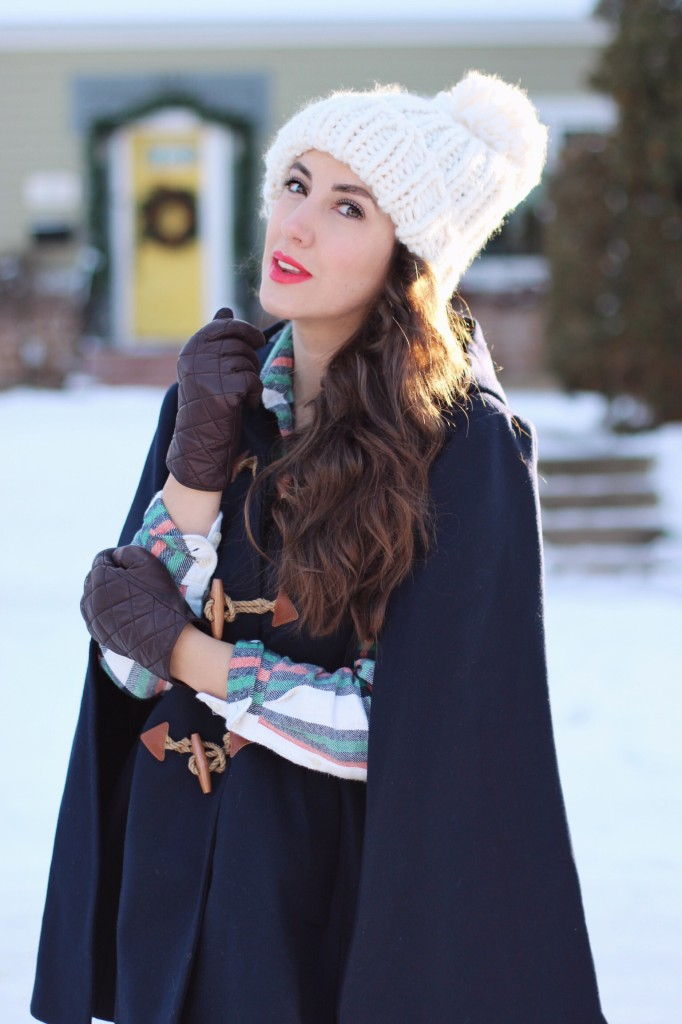 j.crew toggle cape chunky knit hat cougar boots hiking boots kira paran northern style exposure canadian blogger winter look mom fashion salt plaid
