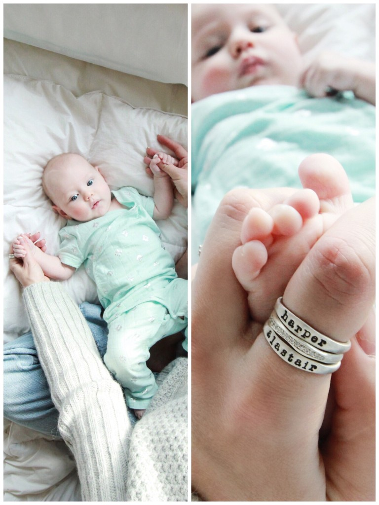 baby milestone photos 3 months ideas aden anais metallic children name ring stackable pave mom mothers day gift