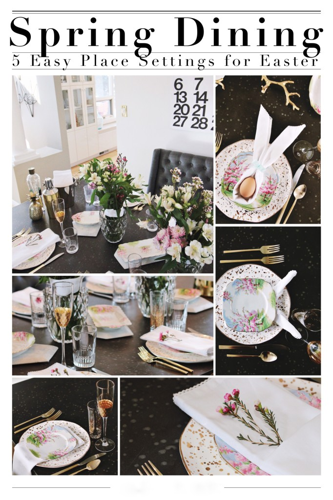 Spring easter place dining setting tablescape spring