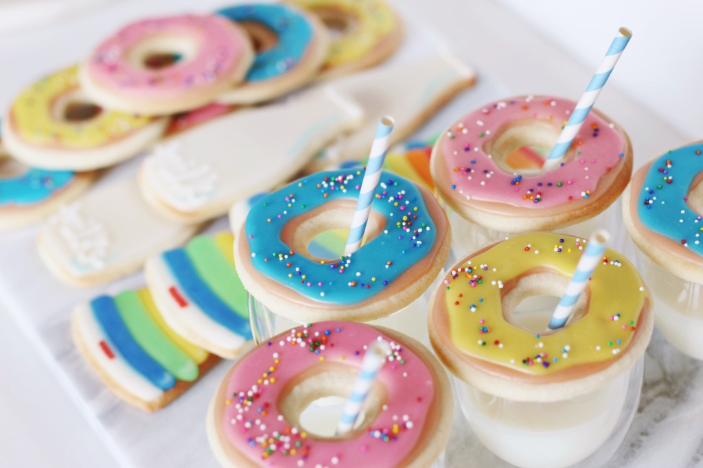 donut doughnut cookies with mini milk