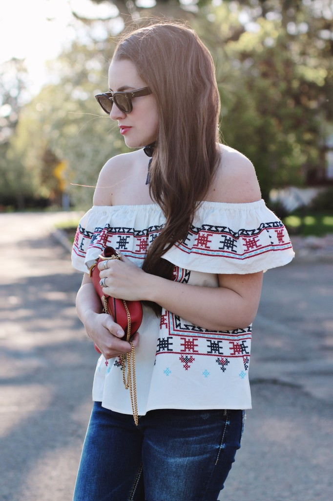 off the shoulder embroidered top red chloe drew bag celine sunglasses maybelline lipstick Canadian blogger mom Kira Paran Northern style