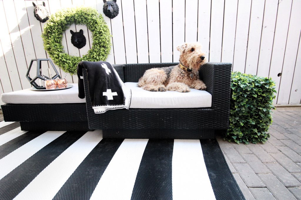 black white green patio design topiary faux deck decor outdoor striped rug
