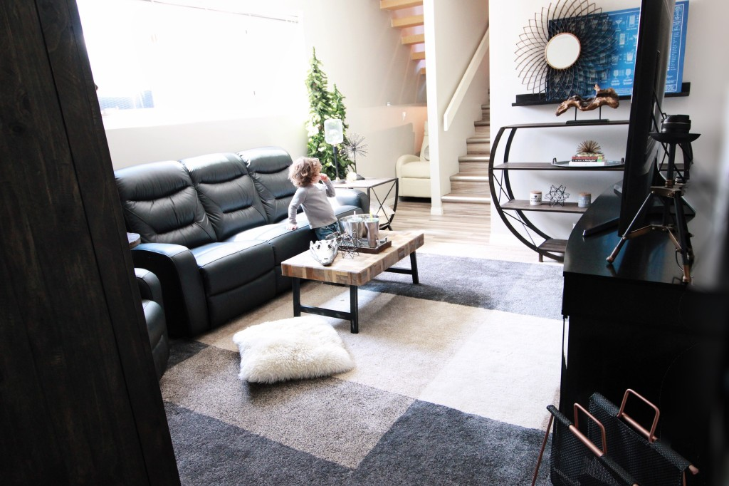 modern industrial viewing family room man cave design The Brick leather sofa reclining