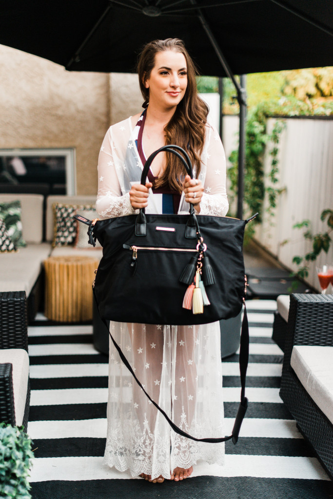 poppy peonies peony travel bag lace cover up maxi dress Kira Paran Northern Style Exposure black white striped patio rug