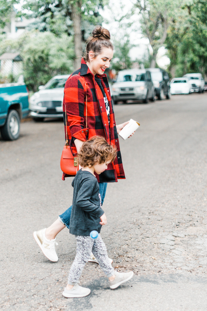 buffalo bb dakota jacket plaid red happy camper sweatshirt chloe drew gold new balance sneakers runners mom style canadian blogger