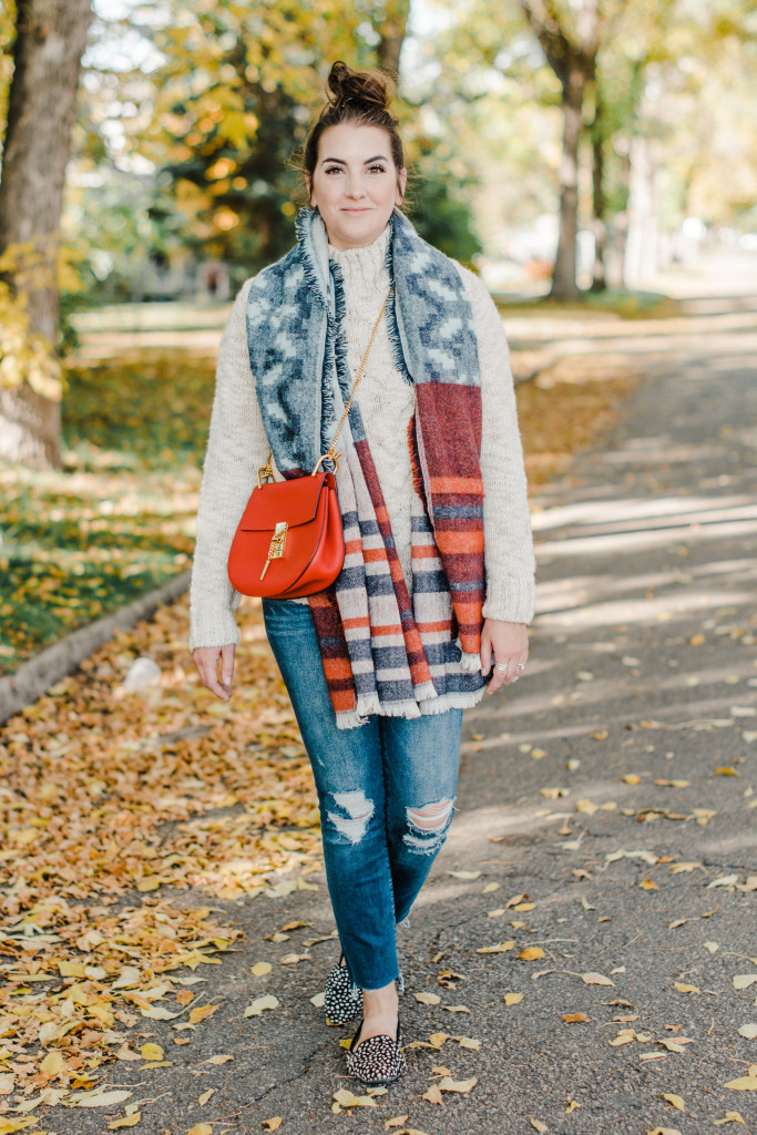 Fall mom style fashion edmonton bamboo ballroom how to wear a blanket scarf red chloe drew bag