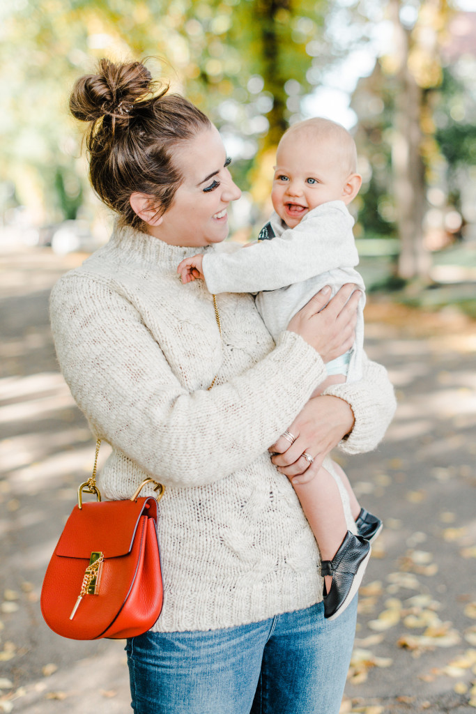 red chloe drew bag chunky knit sweater fall 2017 fashion yet edmonton blogger mommy style mom minimoc
