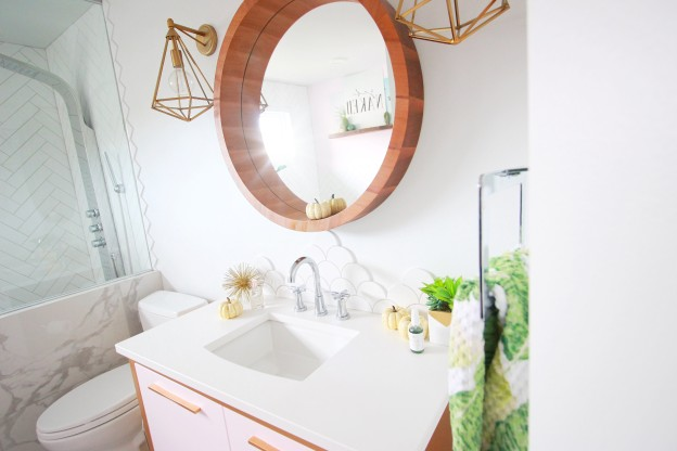 round vanity mirror wood frame gold geometric pendant light fixture pink vanity modern design bathroom fall decor 2017