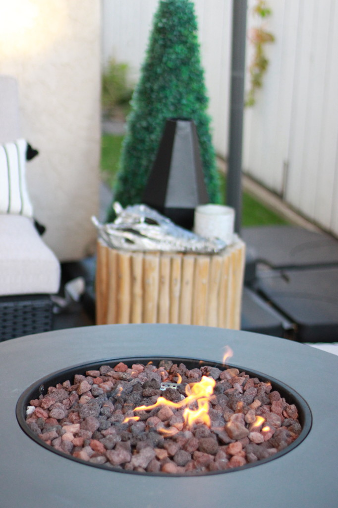 fall patio decor modern fireplace round table