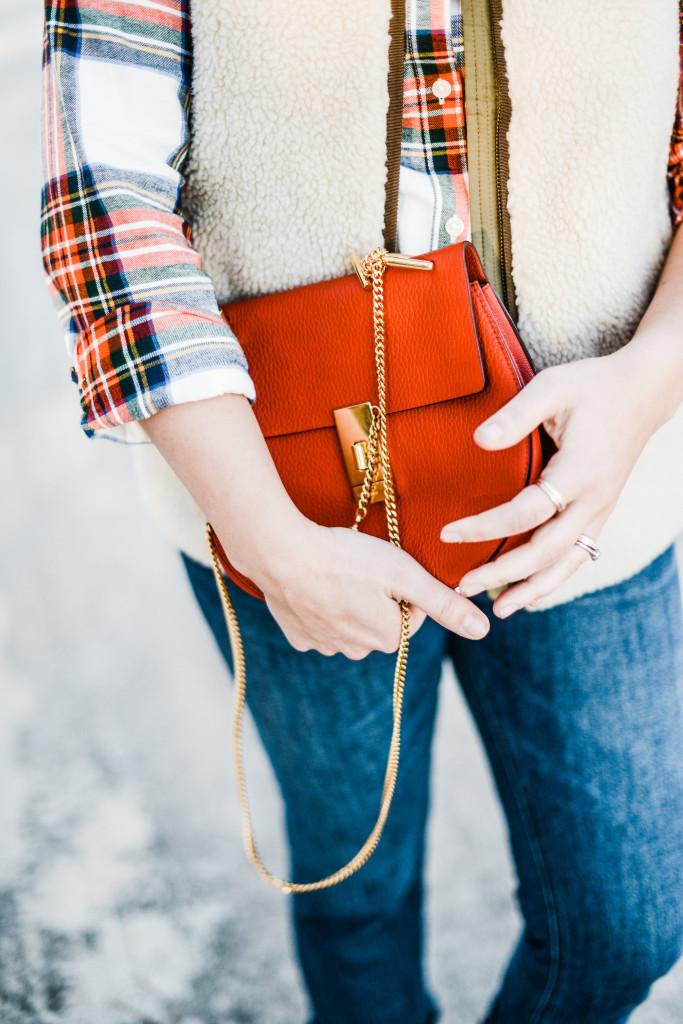 red chloe  drew bag, plaid shirt, sherpa vest, classic preppy style blogger