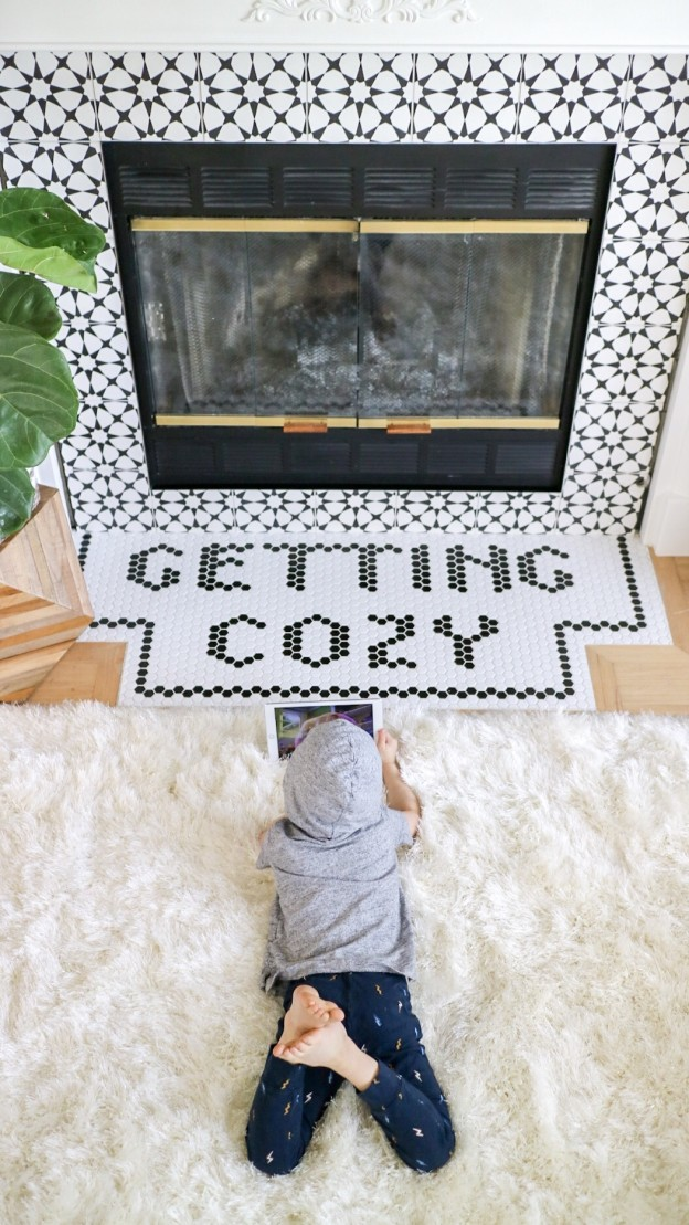 word tile word saying fireplace athena cement tile hexagon black white