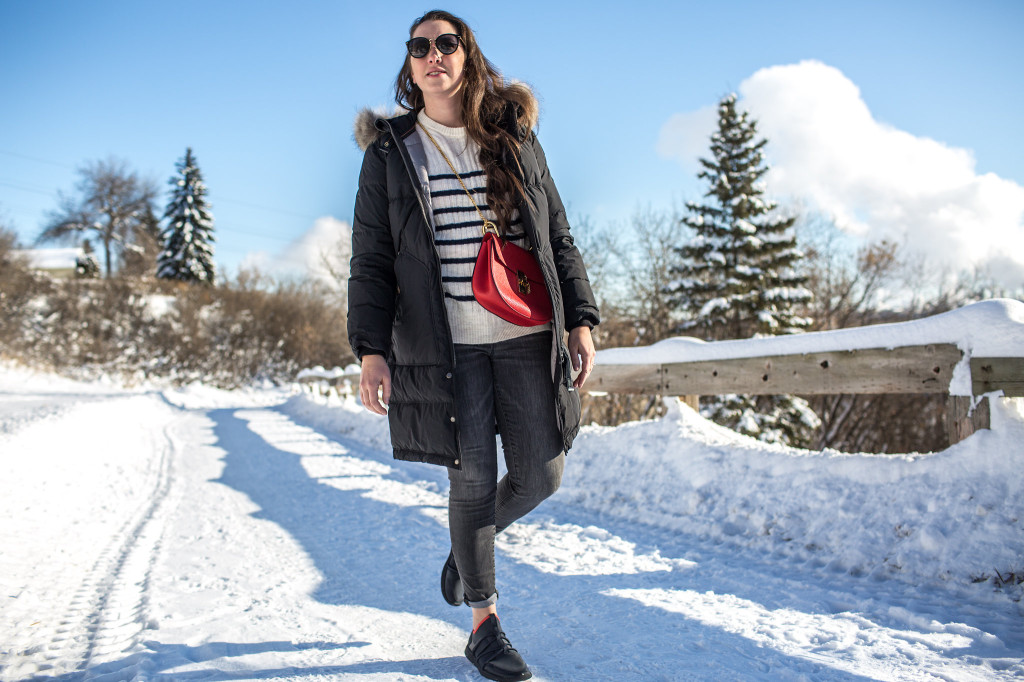 Parajumpers Top best designer parka Canada Canadian blogger chloe drew red bag style gap love gap skinny high rise jean