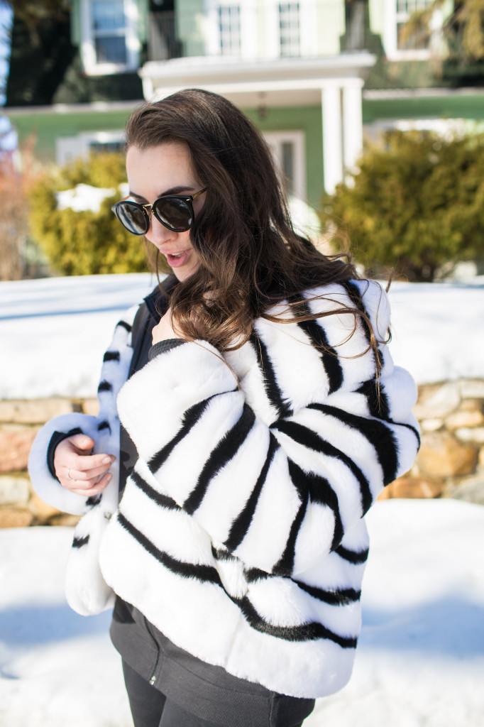 striped faux fur coat jacket The Gap adidas stadium hoodie and track pant athleisure trend canadian blogger Northern style Kira Paran